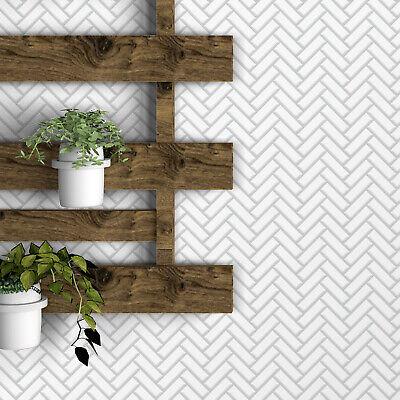Peel and Stick Tile Backsplash 3D White Herringbone Glossy Tile Sticker Decal