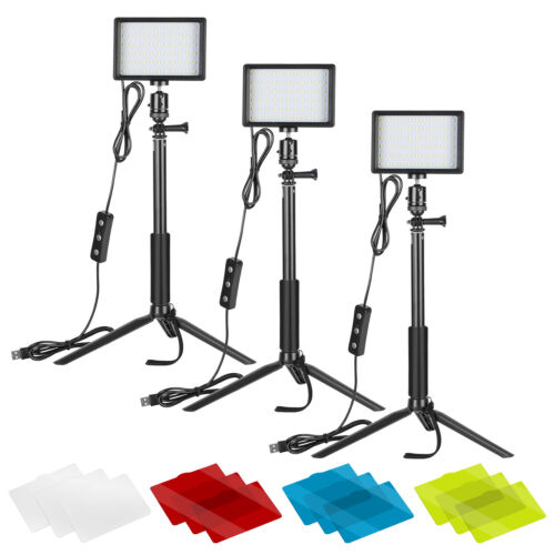 Neewer 3-Pack Photography Lighting Kit Dimmable 5600K USB 66 LED Video Light