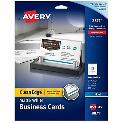 Avery Printable Business Cards Inkjet Printers 200 Cards 2 X 3.5 Clean Edge
