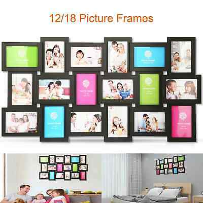 12/18 Photos Frame Collage Multi Picture Frame Display Gallery Home Decor Kit  - Glass Horizontal Picture Frame