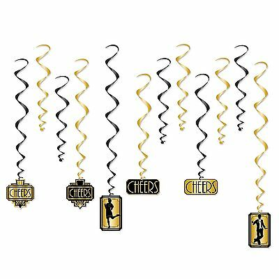 12 ROARING Great 20's Party Decoration Gold Black Hanging WHIRLS Swirls - Roaring 20s Party Decorations