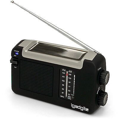 Dynamo Wind Up, Solar, & USB Rechargeable Portable AM/FM Radio + 3 Year Warranty