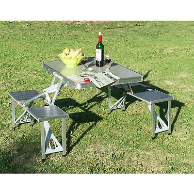 Aluminum Folding Portable Camping Picnic Table Stool Chair Set W/ Umbrella hole