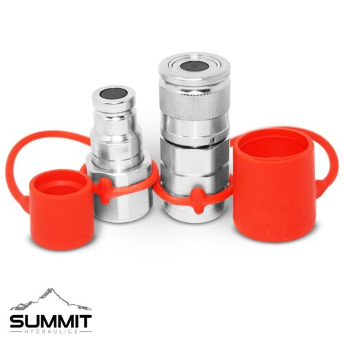 """3/8"""" Flat Face Hydraulic Quick Connect Coupler / Coupling Set, 3/8"""" NPT Thread"""