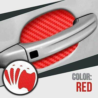 Red Carbon Fiber Car Door Handle Protector Film Anti Scratch Sticker 4PCs Set Car & Truck Parts