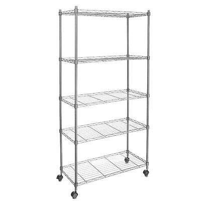 Commercial 5 Tier Shelf Adjustable Wire Metal Shelving Rack W Rolling Chrome