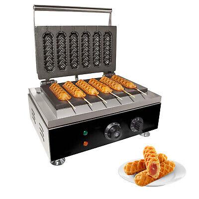Gorillarock Corn Dog Waffle Maker Commercial 6 Pcs Hotdog Waffle Maker