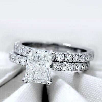 18K WG 2.50 ct Radiant Cut U-Setting Diamond Engagement Ring & Band H,VS2 GIA  1
