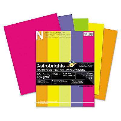 Neenah Paper Astrobrights Colored Card Stock 65 lb. 8-1/2 x 11 Assorted 250
