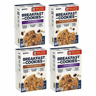 Quaker Breakfast Cookies, Oatmeal Raisin and Chocolate Chip Variety, 4 Boxes