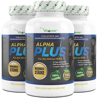 3x Alpha Plus = 540 Kapseln Für aktive Männer - Testosterone Sex Potenz