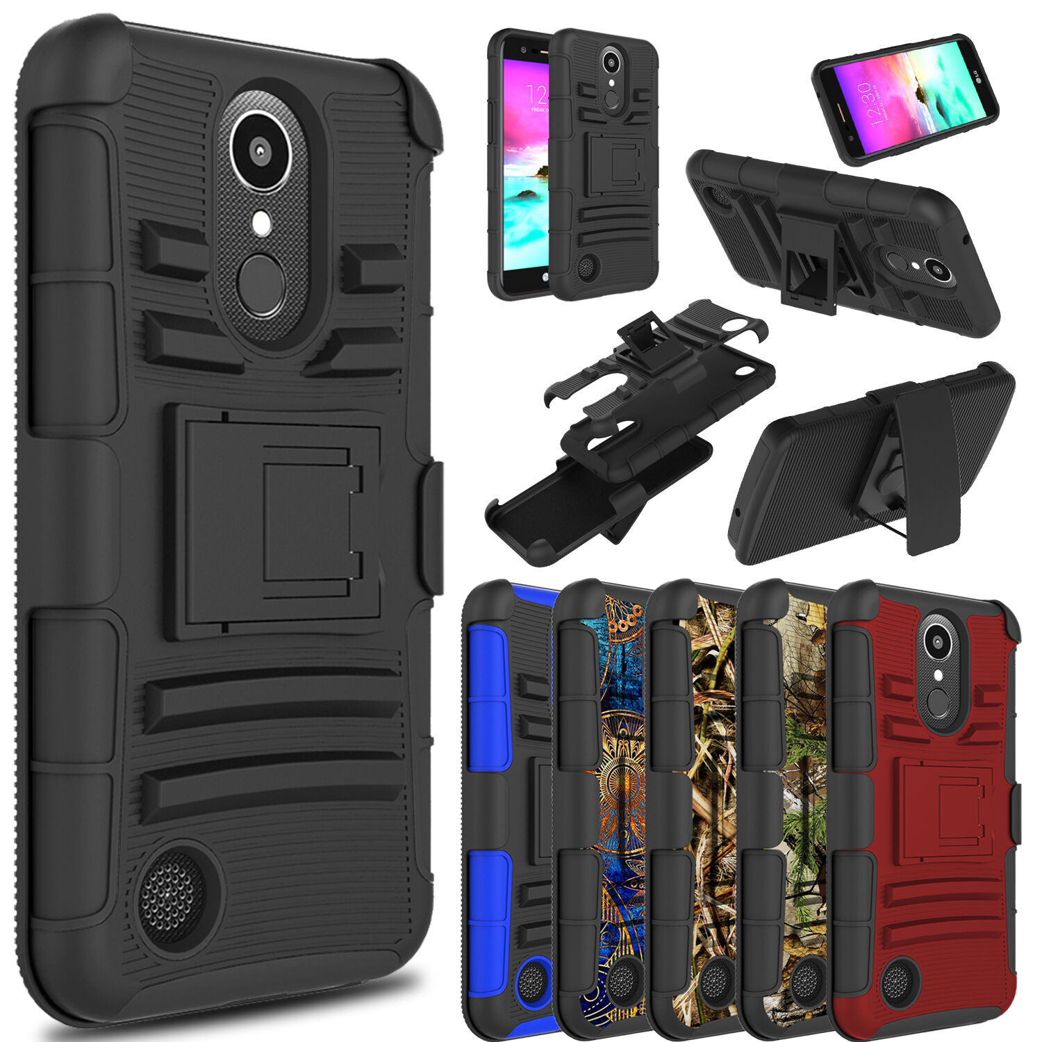 Купить casedazzle 3 layer Cell Phone Shell Armor With Stand Holder - For LG K20 Plus/K20 V/Harmony Shockproof With Kickstand Holster Clip Case Cover