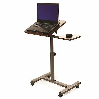 Tilting Sit Stand Computer Desk Cart Portable Laptop Table Rolling Work Station