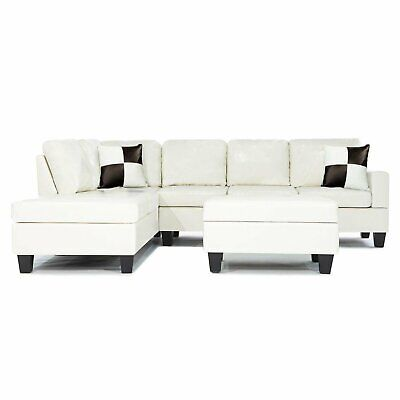 Bonded Leather White Modern Reversible Sectional Couch Set-
