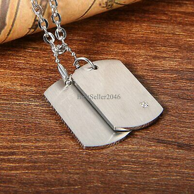 Mens Stainless Steel FREE ENGRAVING Army Military 2 Dog Tag Pendant Necklace 22