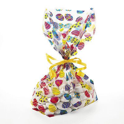 24 EASTER EGG COVERED Goody Treat Loot Cellophane Bags EGG HUNT BUNNY](Easter Treat Bags)