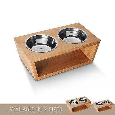 Elevated Dog and Cat Bamboo Pet Feeder Double Bowl Raised Stand