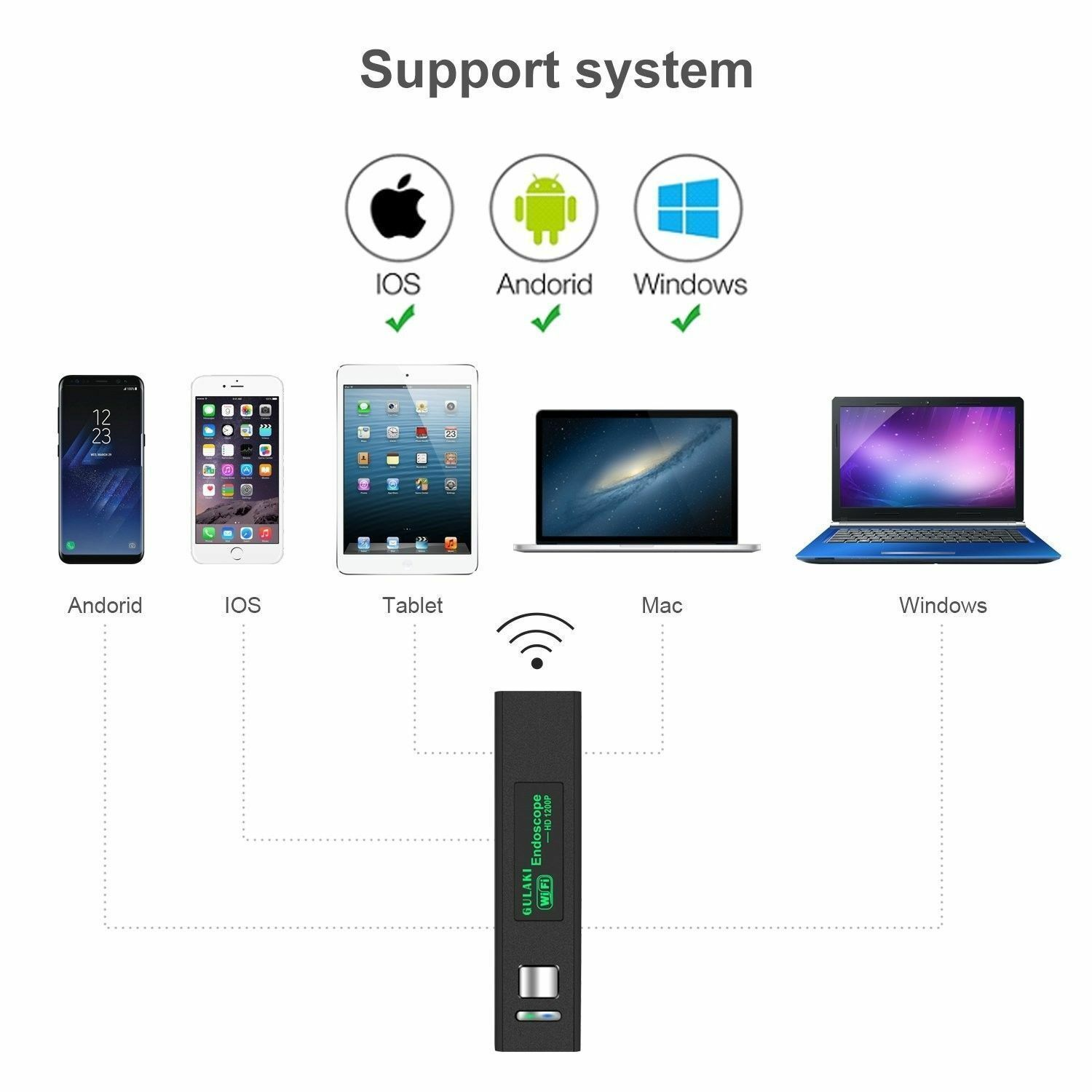 5M 8LED Wireless Endoscope WiFi Borescope Inspection Camera for iPhone Android Consumer Electronics