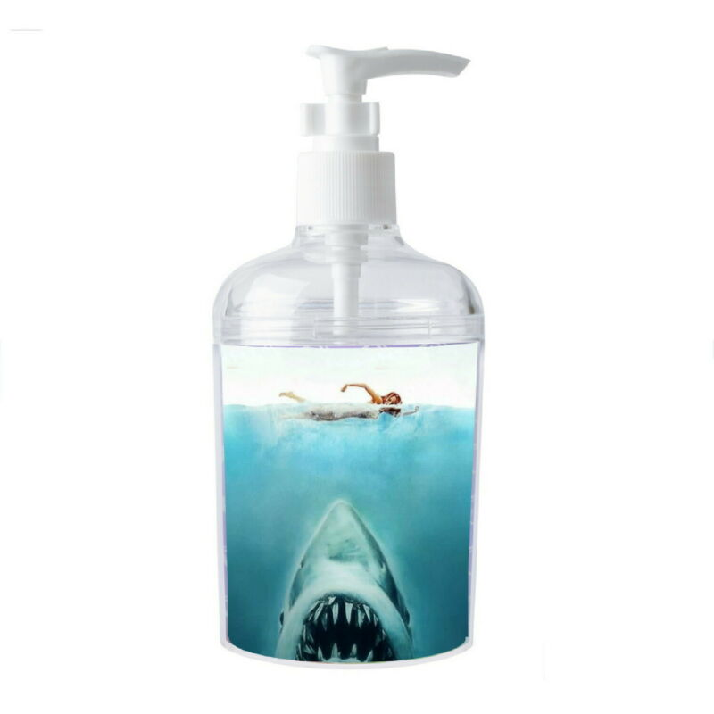 Jaws shark movie Soap / Hand Sani. Refillable Dispenser Not just a label!