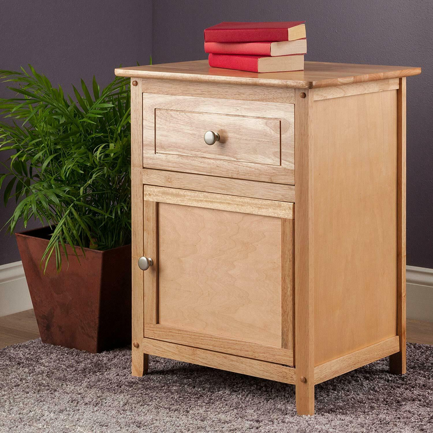 Espresso or Natural Wood Nightstand Bedside Table Drawer Sto