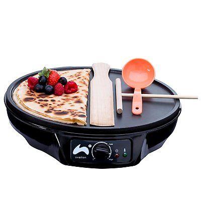 Ovation Non Stick Pancake Maker Crepe Fryer + Full Ladle & Spatula Utensil Set