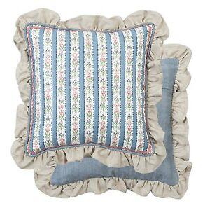 marie kissenbezug deko kissen 40x40 r sche landhausstil streifen blau wei ebay. Black Bedroom Furniture Sets. Home Design Ideas