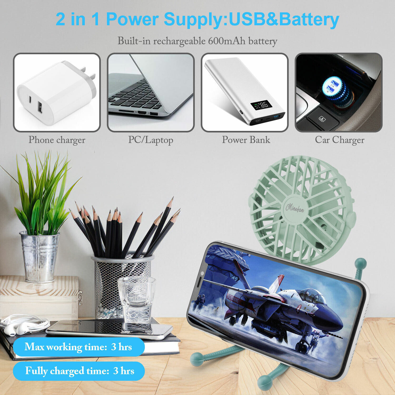 USB Rechargeable Mini Cooling Fan 3 Speeds Portable Clip On Desk Baby Stroller Heating, Cooling & Air