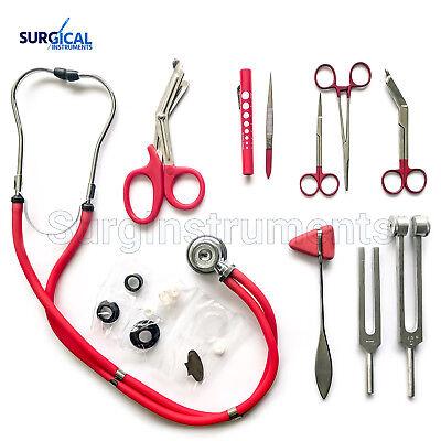 Red 10 Piece Medical Kit Diagnostic Emt Nursing Surgical Ems Student Paramedic