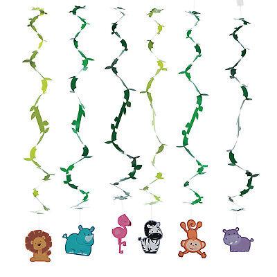 12 Zoo SAFARI Animal Hanging Swirl BABY SHOWER birthday Party DECORATIONS - Safari Baby Decorations