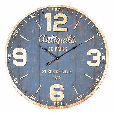 Reloj de Pared Reloj Negro Antiquité De Paris 60cm Shabby Chic Rústico...