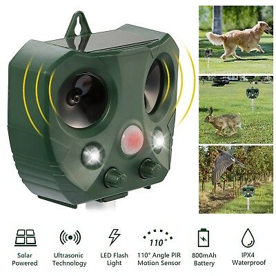 Solar Outdoor Ultrasonic Pest Animal Repeller Garden Cat Dog Fox Repellent  USA