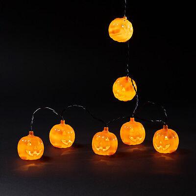 10 Halloween Citrouille Guirlande Lumineuse Orange 5m Blanc Chaud Leds Batterie d'occasion  Expédié en Belgium