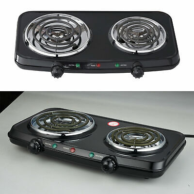 Electric Double Burner Portable Hotplates Heating Plates Camping Cooking Stove for sale  USA
