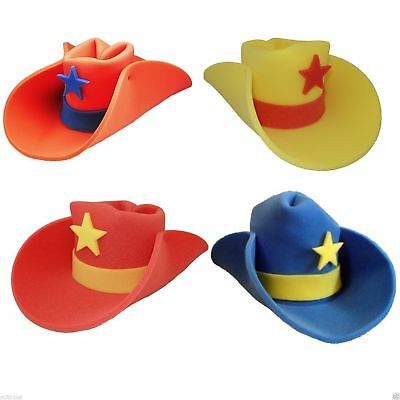 JUMBO FOAM COWBOY HAT 30 GALLON WESTERN COWBOY COSTUME HAT RED BLUE YELLOW