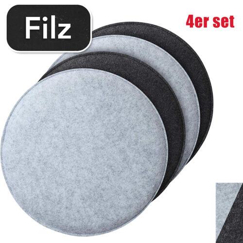 4 Filz Sitzkissen Rund Ø 35x2,5 cm Stuhlkissen Set Sitzauflage Wende Kissen Grau