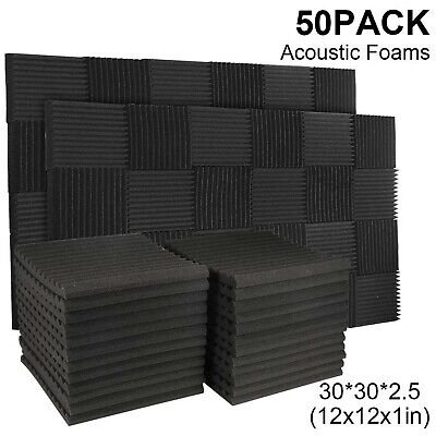 50 Pack Acoustic Panels Soundproof Studio Foam for Walls Sound Absorbing Pane...