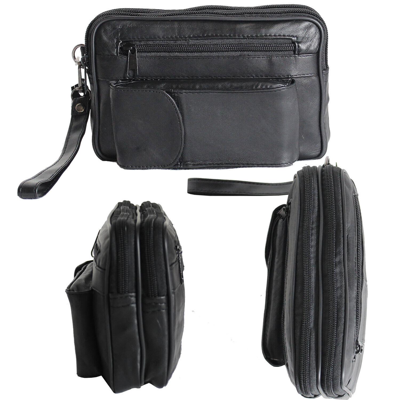 Herren Geldbörse Handgelenktasche Tasche Echt Leder Handtasche Bag Umhängetasche