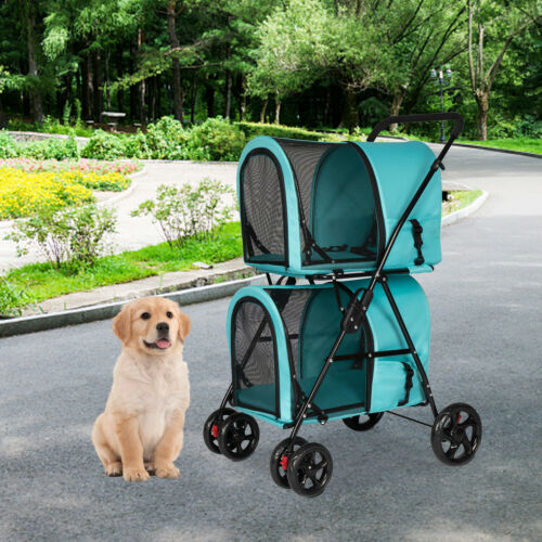 Foldable Double Deck Waterproof Pet Stroller Dog Cat Detach Carrier Jogger