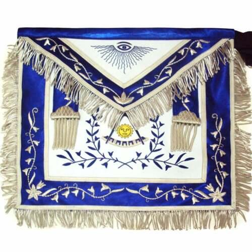 Masonic Past Master Apron Blue Silk Border Silver - %100 Lambskin