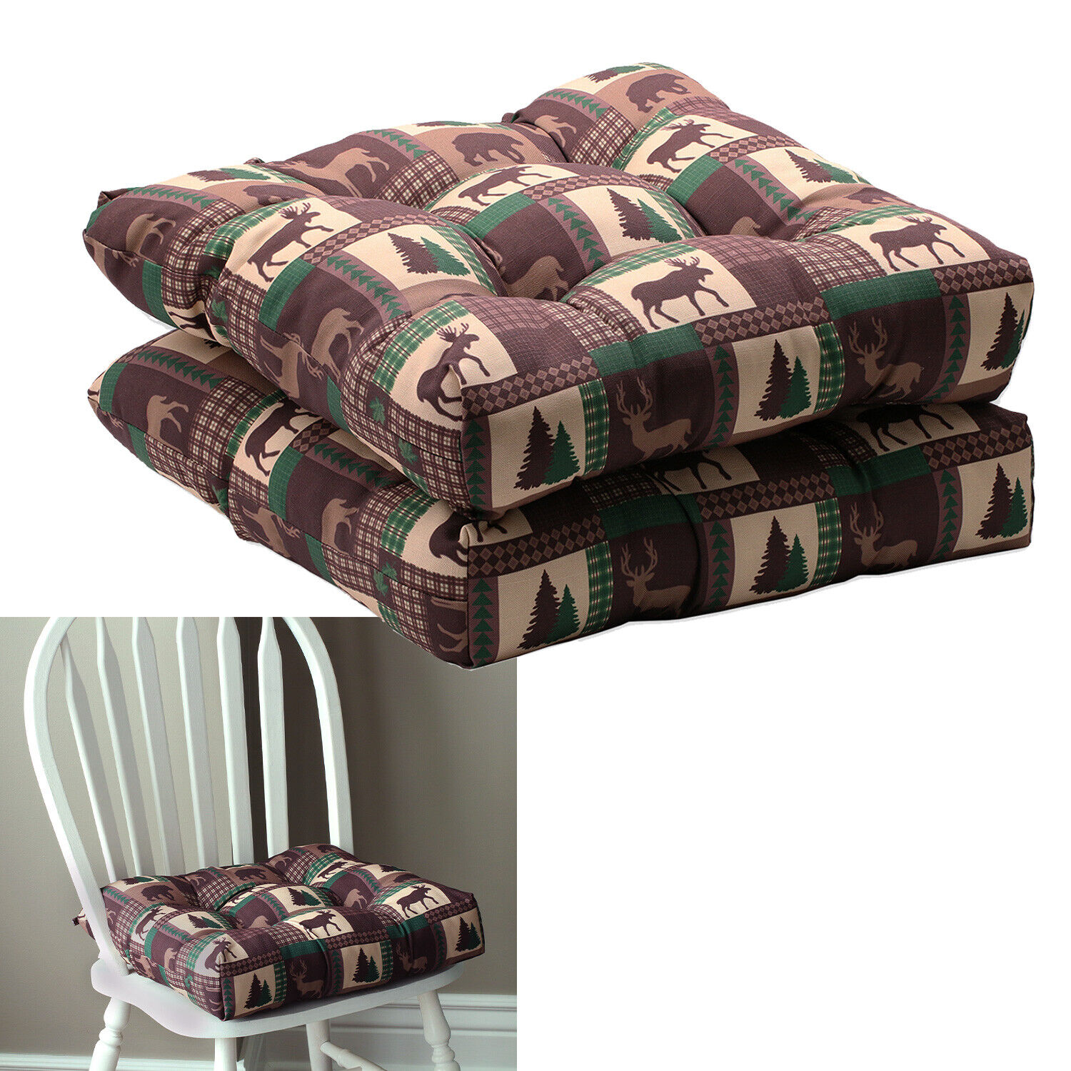 2-Pack Rustic Cabin Kitchen Chair Pad Seat Cushion with Ties, Brown Green Tan Home & Garden
