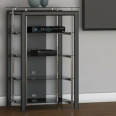 Media Stand Audio Tower Electronics AV Cabinet Stereo Four Shelves Black Chrome - Glass Shelves Electronic