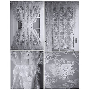 amelia half door lace net curtains window panels tie white slot top bottom ebay. Black Bedroom Furniture Sets. Home Design Ideas