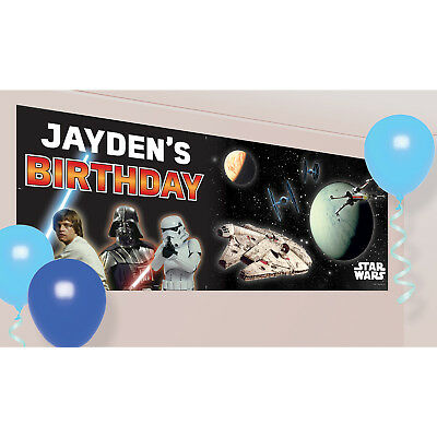 Star Wars Happy Birthday Banner to Personalise Party Decoration Bunting Poster ()
