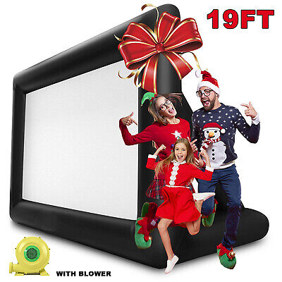 19Ft Giant Inflatable Movie Screen W/ Blower Outdoor Projector Cinema Backyard