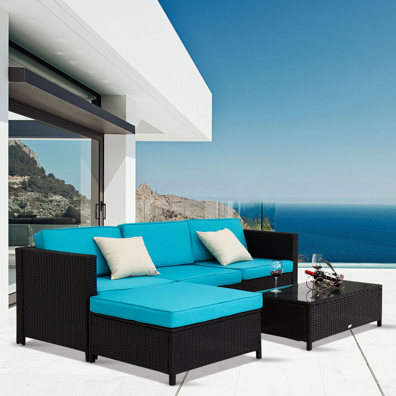 Garden Furniture - Kinbor 5PCs PE Rattan Wicker Patio Sofa Furniture Set Outdoor Garden w/ Cushions