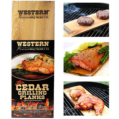 WESTERN Premium BBQ Cedar Grilling Planks 2Pk Barbecue Salmon Steak Meat Veggies