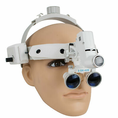 Dental Binocular Loupes Glasses Head Band Magnifier Led Light 3.5x-420 Optical