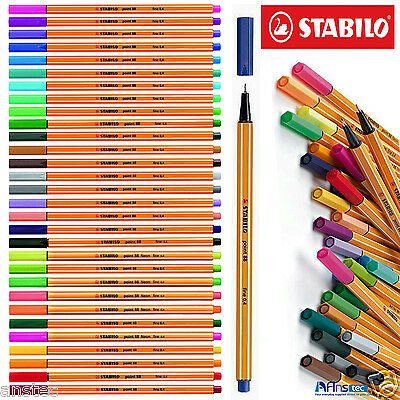 STABILO Point 88 Fineliner Ballpoint Pens - Assorted Colours Art Wallet of 30