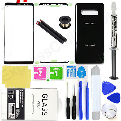 Samsung Galaxy Note 8 N950  Oem Black  Front Screen Glass Back Replacement Kit