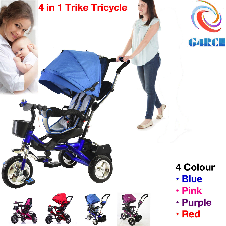 Smart Baby Kids Ride On Trike Tricycle 4 In 1 Bike 3 Wheels Canopy Rain Cover